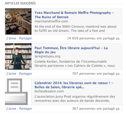 Facebook articles suggéres
