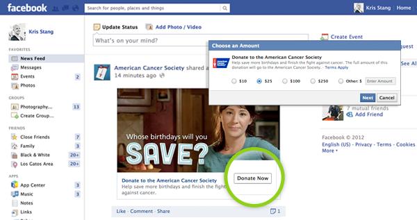 Facebook lance le bouton Donate pour les organismes