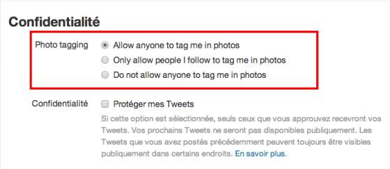 Paramètres d'identification de photos sur Twitter et les confidentialités