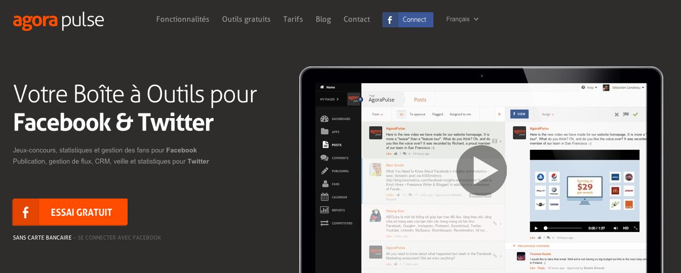 AgoraPulse gestionnaire de communauté Facebook et Twitter outils