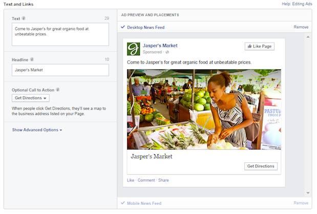 Facebook commerce local publicités